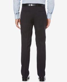 Perry Ellis Portfolio Men's Slim-Fit Stretch Check Performance Pants - Blue 34x32
