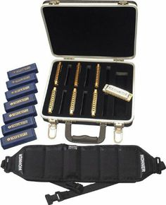 Hohner Blues Harp 7 Harmonica Package with Case and Belt by Hohner. $286.14. The Hohner Blues Harp is the world's first blues Harmonica. Its wood body construction gives the Blues Harp the raw blues sound that so many professionals demand. This package includes seven harmonica keys, A-G, as well as a carrying case and a belt that holds all seven harmonicas. Quality Harmonicas for Amateurs and Professionals Alike! Hohner's diatonic harmonicas set the industry standa...