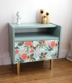 Have dad build a night stand like this to match my dresser: gold leg and knob, the rest painted same color as dresser.