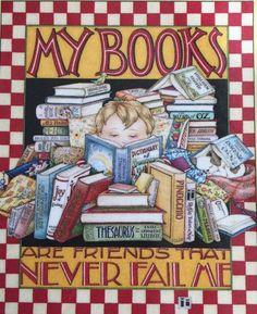 My Books-Handmade Fridge Magnet-Mary Engelbreit Artwork