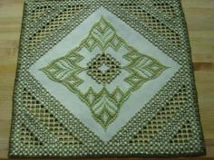 Hardanger and Bargello Centerpiece by BrokenAchers on Etsy, $55.00