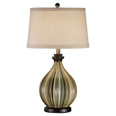 Found it at Wayfair - Sawyer Table Lamp in Cream $129.99 on daily sale  Reviewer notes orange stripe as well