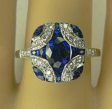 Platinum Sapphire and Diamond Ring-Size 7 1/2.