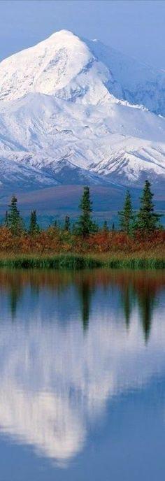 Majestic Mount McKinley (Denali) reflected onto Wonder Lake at Denali National Park in Alaska • original source not found