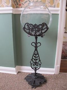 Image Detail for - ViNtAgE FISH DRUM TANK AQUARIUM ART DECO cast iron bowl stand ANTIQUE ...