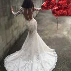 Sexy Open Back Long Sleeves Mermaid Wedding Dresses Lace Appliques 2016 Luxury Crystal Beaded Bridal Gowns