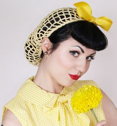 Vintage Retro Pinup Hair Snood in Buttercup Yellow Crocheted from  1940's Design. via Etsy.