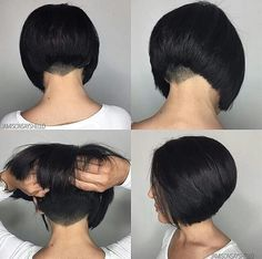 Lovely Classic Undercut Aline Bob Hair By Thanks Carl Richards. Lovely Classic U Nape Undercut, Undercut Hairstyles, Short Bob Hairstyles, Diy Hairstyles, Pretty Hairstyles, Short Bob With Undercut, Short Hair Cuts, Bob Haircut With Undercut, Aline Bob