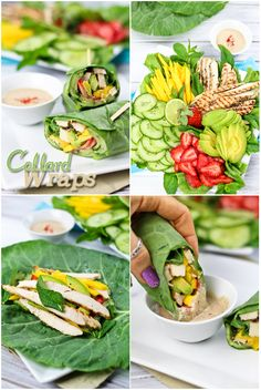 Chicken Collard Wraps with Satay-Style Dipping Sauce