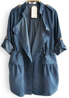 Blue Drape Collar Pockets Long Sleeve Drawstring Outerwear