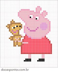 Doces Pontos - Peppa Pig Hama Beads Design, Diy Perler Beads, Hama Beads Patterns, Perler Bead Art, Beading Patterns, Embroidery Patterns, Beaded Cross Stitch, Cross Stitch Charts, Cross Stitch Designs