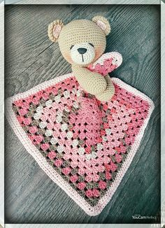 Cute Bear Lovey Cute Bear Lovey Learn the fact (generic term) of how to needlecraft (generic term), Crochet Security Blanket, Crochet Lovey, Lovey Blanket, Crochet Blanket Patterns, Amigurumi Patterns, Baby Blanket Crochet, Crochet Dolls, Free Crochet, Crochet Crafts
