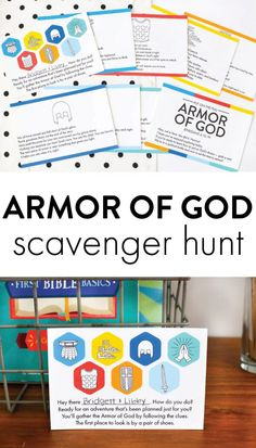 The Armor of God Scavenger Hunt for Kids - The Littles & Me Kids Church Games, Church Activities, Bible Activities, Children Church, Bible Study For Kids, Bible Lessons For Kids, Kids Bible, Primary Lessons, Sunday School Games