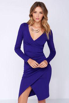 LULUS Exclusive Shakedown Royal Blue Long Sleeve Midi Dress at Lulus.com -- Love this shade of blue