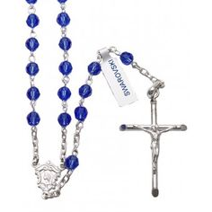 Rosary with Blue Swarovski crystal beads and Sterling Silver, Our Lady of Lourdes center with the Sacred Heart of Jesus on the reverse side and a Sterling Silver Crucifix. Made In Italy.(sku 9-1507b)