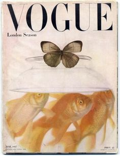 British Vogue June photo by Irving Penn. London Season - 'Penn's cover', wrote Vogue, 'symbolises the gaiety of a summer season - the butterfly fragility of a summer cool dress, fluttering through the social round, the cynosure and envy of all eyes. Vogue Vintage, Vintage Vogue Covers, Poster S, Poster Wall, Poster Prints, Plakat Design, Vogue Magazine Covers, Room Posters, Vintage Magazines