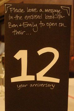 place a booklet on each table that corresponds to the table number, and ask guests to write a message for you to read on that anniversary. No peeking until you hit each milestone!