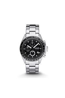The black chronograph dial (with lum indexes) sits inside of a stainless steel case. To add texture, the bracelet has both brushed and shiny stainless steel.