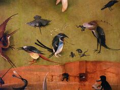 """Garden of Earthly Delights"" - Tryptich, Birds Panel Detail ~ by Hieronymus BOSCH. Hieronymus Bosch, Jan Van Eyck, Garden Of Earthly Delights, Art Optical, Dutch Painters, Renaissance Art, Old Art, Oeuvre D'art, Middle Ages"