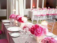 Décoration table argent pailletee et rose pale