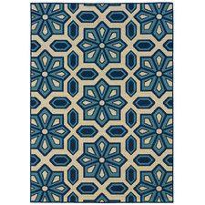 Capri Ivory/Blue Indoor/Outdoor Area Rug