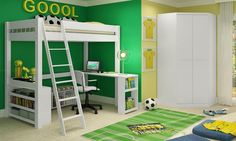 Quarto Juvenil Completo com Cama Compacta Multifuncional com Escrivaninha, Banco, Prateleiras e Guarda Roupa Modulado Branco - Caaza
