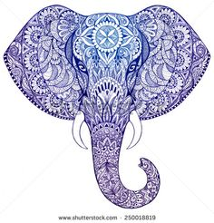 hand-painted elephant with ornament. Tattoo elephant with patterns and. - Elefanten -Beautiful hand-painted elephant with ornament. Tattoo elephant with patterns and.