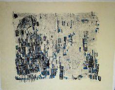 Vieira da Silva signed lithograph blue by MarieArtCollection
