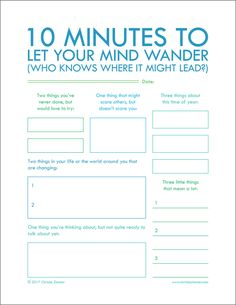 "Minutes To Let Your Mind Wander"" - Printable Journal Pages to help you put your thoughts into words. Journal writing is an important step in not only understanding yourself but also improving your relationships. 5 Minutes Journal, School Counseling, Group Counseling, Self Development, Development Quotes, Professional Development, Writing Tips, Writing Challenge, Creative Writing"