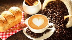 Download wallpaper coffee, drawing, cereals, pastries, buns, breakfast, food resolution 1366x768