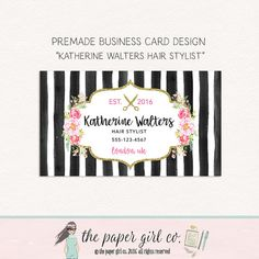 hair stylist business card scissors business by ThePaperGirlCo