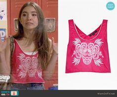 70457958b3b233 Riley s red embroidered crop tank top on Girl Meets World. Outfit Details   https