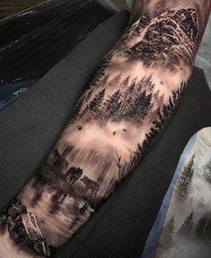 Forest Tattoo Sleeve, Animal Sleeve Tattoo, Nature Tattoo Sleeve, Forest Tattoos, Forearm Sleeve Tattoos, Mountain Sleeve Tattoo, Man Arm Tattoo, Back Tattoo Men, Wolf Tattoo Forearm