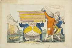 No Grumbling. Aquatint by Isaac Cruikshank, May 1795. George III assisted by William Pitt the Younger load George's debts onto John Bull's head.