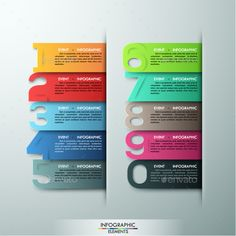 Modern Infographic Options Template by Andrew_Kras Modern infographics options banner with realistic colorful ribbons and big numbers from 0 to Vector. Can be used for workflow l Web Design, Chart Design, Graphic Design, Web Layout, Layout Design, Powerpoint Design Templates, Diagram Chart, Photoshop, Le Web