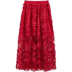 Tulle skirt with embroidery (180 BAM) ❤ liked on Polyvore featuring skirts, red knee length skirt, red skirts, tulle skirts, embroidered skirt and lined skirt