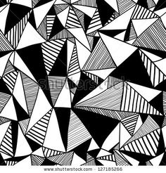 Seamless texture with triangles, mosaic endless pattern. Black and white. by svaga, via ShutterStock
