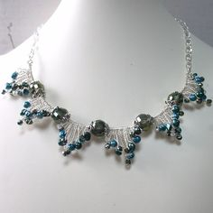 Beaded Wire Twisted Necklace Teal Freshwater by FiveLittleGems, $85.00