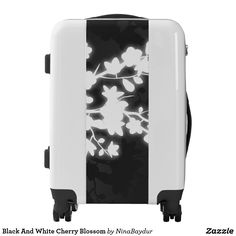 Black And White Cherry Blossom Luggage