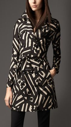 Mid-Length Geometric Print Silk Trench Coat | Burberry