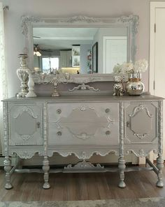 Beautiful vintage Jacobean buffet and mirror repurposed, upcycled and refinished! White and gray chalk paint mixed with silver. The top all silver and silver gilding wax on all the details crystal glass knobs on the drawers original knobs on the doors. Refurbished Furniture, Paint Furniture, Repurposed Furniture, Shabby Chic Furniture, Furniture Projects, Furniture Makeover, Vintage Furniture, Home Furniture, Furniture Making