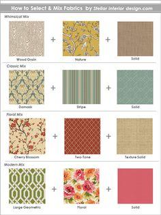 Fabric Design, Pattern Design, Fabric Decor, Designer Fabrics, Interior Design Services, e-decorating, www.stellarinteriordesign.com/mix-fabric-patterns/