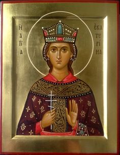 Saint Catherine Of Alexandria, Church Icon, Byzantine Icons, Religious Icons, Orthodox Icons, Christian Art, Ikon, Madonna, Saints