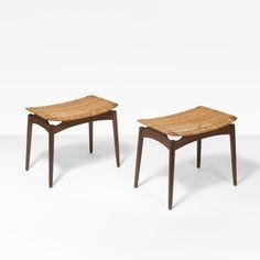 Finn Juhl; Teak and Cane Stools for Dlholm Furnitures, 1960s.