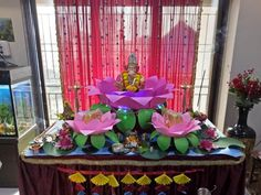 Ganpati Decoration At Home, Ganapati Decoration, Goddess Lakshmi, Traditional Decor, Diwali, Arch, Table Decorations, Plants, Home Decor