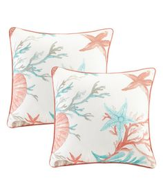 Take a look at this Coral Pebble Beach Throw Pillow - Set of Two today!