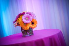 Colorful gerber daisies for the Bat Mitzvah tables. Mitzvah Madness. Amy Zaroff Events + Design. Photography by: Jeff Schmieg Photography