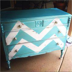 Love this antiqued chevron dresser