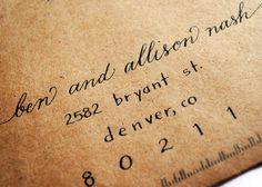 Love this combination of cursive and print. Envelopes. $1.75, via Etsy.