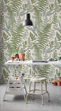 Ferns composition removable wallpaper green and beige 21 | Etsy